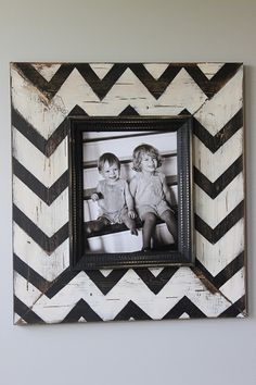 stencil chevron stripes on wood frame.  this will be great on those old ikea mirrored frames!