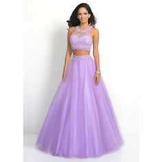 2015 High Neck Sheer Lace Beaded Two Piece Lilac Party Dress (1,220 CNY) via Polyvore featuring dresses, two piece prom dresses, purple cocktail dress, two piece cocktail dresses, cocktail dresses and high neck cocktail dress