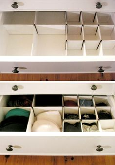 alHow to: Make Homemade Drawer Organizers. I will be doing this. Makes storage in a small apartment do easy