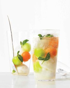 Refreshing Melon-Sorbet Float Recipe | Martha Stewart Living - Put a healthy dairy-free twist on an ice cream float by combining frozen melon balls, lemon or coconut sorbet, and fresh mint, then topping with seltzer or club soda.
