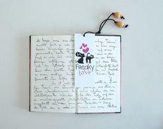Punto de libro FREAKY LOVE / marcapáginas gatos / por beacbarros