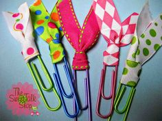 paper clip ribbon bookmarks