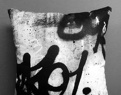 Screen Printed Graffiti Decorative Pillow