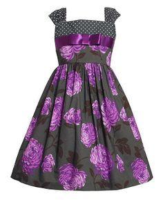 Bonnie Jean Grey Purple Flower Sleeveless Cotton Dress Girls 4-6x