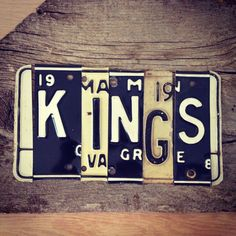 OOAK LA Los Angeles KiNGS NHL hockey Stanley Cup sports upcycled license plate art sign black white tomboyART tomboy. $145.00, via Etsy.