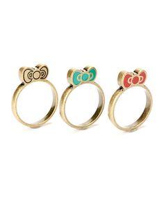 Look at this #zulilyfind! Rede & Teal Hello Kitty Southwestern Ring Set #zulilyfinds