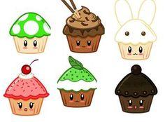 A selection of sweetly adorable little kawaii cupcake illustrations.