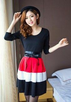 Tokyo Fashion Big Hem Stripes Belted Dress Origin: China  Fabric: Cotton  Description:One Button,Long Sleeves,Single Color Unit price :USD7.72/pc  http://www.rj-fashion.net/buy/0403PZ1U