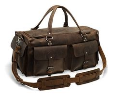 21'' Duffle Travel Bag - Brown Vintage Style Overnight Travel Case