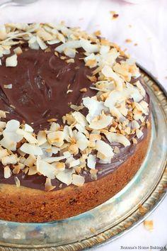 Grated chocolate coconut cake with chocolate ganache recipe from Roxanashomebaking.com