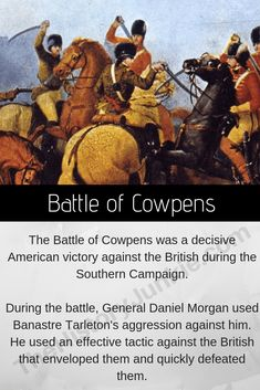 The Battle of Cowpens was a masterful piece of soldiering by Daniel Morgan. He beat the crap out of the British and obliterated an entire wing of Cornwallis's Army. Revolutionary War Battles, American Revolutionary War, American Civil War, American History, World War I, World History, American Independence, Civil War Photos, Education Humor