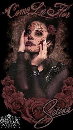 Selena Day of the Dead Girly Tattoos, Tribal Tattoos, Sugar Skull Tattoos, Rose Tattoos, Art Tattoos, Celtic Tattoos, Sleeve Tattoos, Lowrider Art, Sugar Skull Girl