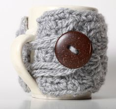 In LOVE with this!!!~ Etsy listing at https://www.etsy.com/listing/105747378/grey-heather-gray-coffee-mug-cozy-travel