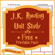 copywork chracter traits & more J.K. Rowling Unit Study ~ Free Printable Pack