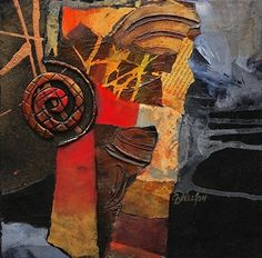 "Vortex, 060716 by Carol Nelson mixed media ~ 10 x 10-Mixed Media Abstract Series, ""Vortex"" by Carol Nelson Fine Art"