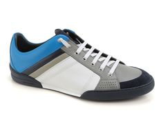 Dior men's low top sneakers in grey blue Leather - Italian Boutique €343