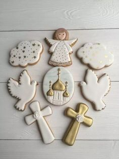Look what I found on AliExpress Angel Cookies, Baby Cookies, Easter Cookies, Christmas Cookies, Christening Cookies, Christening Party, Baptism Party, Biscuit Cupcakes, First Communion Decorations