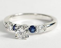 Bella Sapphire and Diamond Engagement Ring in 18k White Gold #BlueNile #Engagement