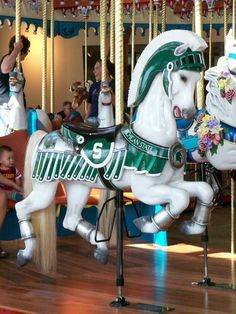 Michigan State University carousel horse in St. Joseph, Michigan