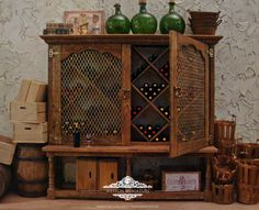 Estate Wine Cabinet 1:12 Scale Miniature Dollhouse Furniture