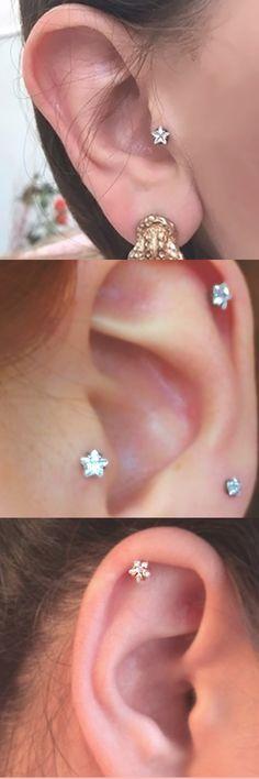 Cute Multiple Ear Piercing Ideas at MyBodiArt.com - Crystal Star Silver Tragus Earring 16G - Cartilage Studs - Helix Jewelry