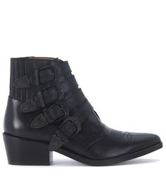 TOGA TEXAN TOGA PULLA IN BLACK LEATHER WITH OPAQUE BLACK BUCKLES. #toga #shoes #