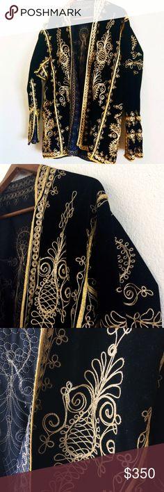 "Vintage Gold Trim Velvet Smoking Jacke Vintage Gold Trim Velvet Smoking Jacket Metallic Gold & Black 1950's Era Size Large No Closure Unlined   Inseam: 15"" Length: 31"" Back: 18"" Chest: 52""  Has some loose threads   #boutique #vintageshop #vintageclothing #bohostyle #gypsy #fashion #clothes #couture #model  #fashionblogger #fashionista #luxury #boho #gypsy #jacket #outerwear #depopfamous #vintage #blazer #retro #velvet #coat #trimcoat unknown Jackets & Coats Blazers"