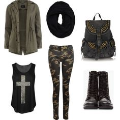 Military Style Outfit~Camouflage Skinny Jeans/Camo Pants+Utility Jacket