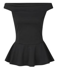 8be552fcb3c4e2 Ladies Black Bardot Off The Shoulder Peplum Skater Top Plus Size 8 - 22