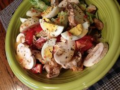 Big salad for dinner.  Topped off with Italian  dressing. Yum!