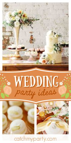 Kristen J's Wedding / Neutral urban chic - Light and Airy Wedding Inspiration at Catch My Party Chic Wedding, Floral Wedding, Rustic Wedding, Wedding Gowns, Bridal Shower Cakes, Bridal Shower Party, Floral Decorations, Traditional Cakes, Rustic Cake