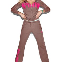 "Large PINK Full Zip Hoodie➕ Medium Boyfriend Pants Full Zip Hoodie - Soft, slim and super cool! Pull the drawstring snug or leave it loose for your idea of the perfect fit. Only by Victoria's Secret PINK.  Slim fit Supersoft fleece Imported cotton/polyester.                                    Boyfriend Pants -   Slouchiest, most over-sized fit Fleece fabric Drawstring elastic waistband Sits below the hip Dropped inseam/rise Side pockets Raw-edge hem can be cut to the perfect length 33""…"