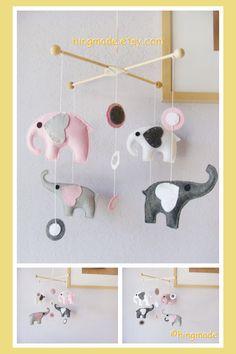 Elephants Mobile - Baby Crib Mobile - Nursery Mobile - Room Decor - Polka Dot Gray Pink White Elephants theme (You can pick your colors)