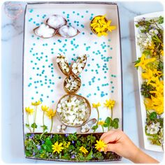 DIY TPR Bunny Craft is a fun spring Easter inspired activity from recycled and natural materials to promote fine motor control and dexterity in children. Egg Crafts, Bunny Crafts, Tree Crafts, Easter Crafts, Spring Art, Spring Crafts, Easter Activities, Activities For Kids, Art For Kids