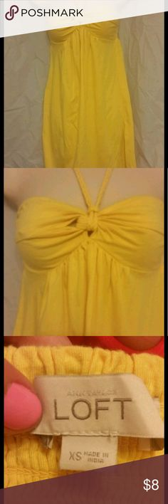 Bright Yellow Loft Empire Waist Sundress Never too early to prepare for that vacay!  Cheery sundress by Loft features braided tie-up straps and elastic back.  Empire waist.  Minidress (but not too short). Cute worn with floppy hat and wedges! Great swimsuit cover-up too. Gently used,  but still looks great!  Size XS. LOFT Dresses Mini