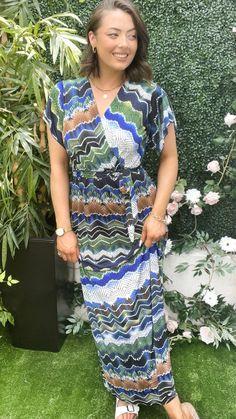 Green wrap dress, green summer dress, summer maxi dress, season transition dress, chevron print