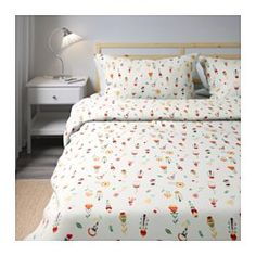 Rosenfibbla Duvet Cover And Pillowcase S White Fl Patterned Ikea