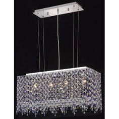 Moda Rectangle Lace Chrome Four-Light 26-Inch Island Pendant with Royal Cut Clear Crystal - (In Clear)