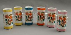 Six Psychodelic Flower Power Mugs  Free by AuntHattiesAttic, $37.00