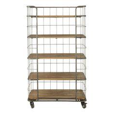 Metal and Mango Wood Industrial-Style Shelf Unit on Castors Troly Wooden Shelf Unit, Wall Shelf Unit, Wooden Rack, Industrial Wall Shelves, Wooden Shelves, Industrial Style, Vintage Industrial, Industrial Living, Rolling Shelves