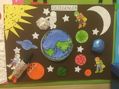 Gezegenler School Projects, Projects For Kids, Crafts For Kids, Space Projects, Art Projects, Space Theme Classroom, Classroom Decor, School Decorations, School Themes