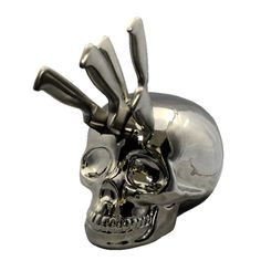 skull kitchen knife holder