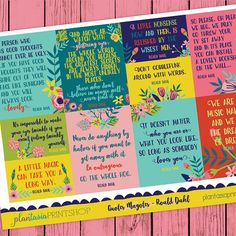 Quotes Magotes stickers are wonderful for the word lovers, the readers, the thinkers... this particular sheet featured the words of Roald Dahl. The sheet measures 4.5x6.5. Stickers vary in height, and are perfect for any planner or paper craft. These coordinate with the rest of Kid President, Blackout Poetry, Shel Silverstein, Country Quotes, Willy Wonka, Roald Dahl, Greek Quotes, Love Quotes, Quotes Quotes