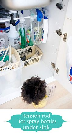 this one: curtain tension rod under sink to hold spray bottles. this one: curtain tension rod under sink to hold spray bottles. Organisation Hacks, Kitchen Organization, Storage Organization, Organizing Tips, Storage Ideas, Kitchen Storage, Cabinet Storage, Creative Storage, Storage Hacks
