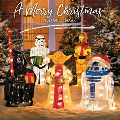Tinsel Christmas Star Wars Characters With Gift Star Wars Christmas Decorations, Star Wars Christmas Tree, Inflatable Christmas Decorations, Christmas Yard Art, Christmas Light Displays, Christmas Inflatables, Christmas Holidays, Holiday Decor, Christmas Gifts