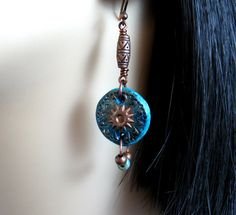 Rustic Polymer Clay Earrings Bohemian by IsleofSkyeJewelry on Etsy