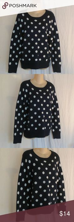 Old Navy Polka Dot Sweater Size L Up for grabs here is your basic sweater in navy blue with white polka dots. It is made by Faded Glory and a size large 12 - 14. The last photograph shows the colors better. The navy blue color of this sweater is in between the last photograph and that of the first photograph. This sweater does have pilling.  Do you have kids? Make sure to browse my closet and pick up something for them too :-) Faded Glory Sweaters