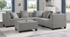 """Homelegance 9357GY-5SC-OT 6 pc Winston porter Jayne gray textured fabric modular sectional sofa with ottoman. This set features multiple piece modular configuration. This set includes the 3 - corner seats , 2 - armless chair , and ottoman. Set up size as shown 106.5"""" x 106.5"""" x 34.5"""" H . Additional pieces also available separately at additional cost. Some assembly required."""