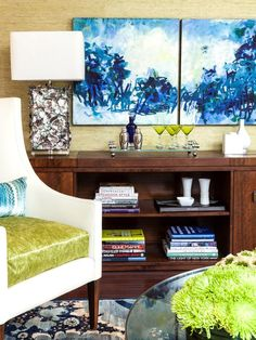 bright colors in home with paintings and accessories