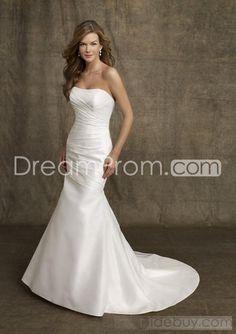 Mermaid  Strapless    Chapel  train  Satin  wedding dress for brides 2011 style(2011WD423)